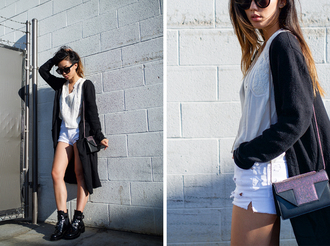 neon blush blogger cardigan sunglasses shoulder bag college white shorts