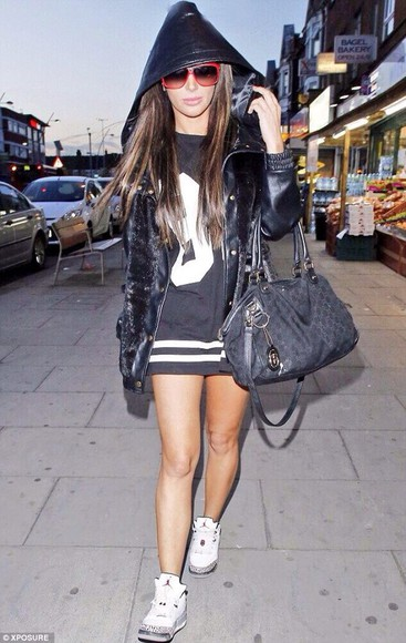 sparkly black coat tulisa hoodie wheretoget? shirt