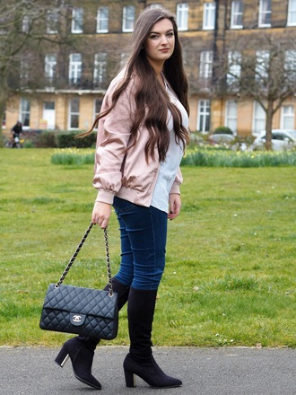 jacket white shirt pink bomber jacket jeans black boots blogger