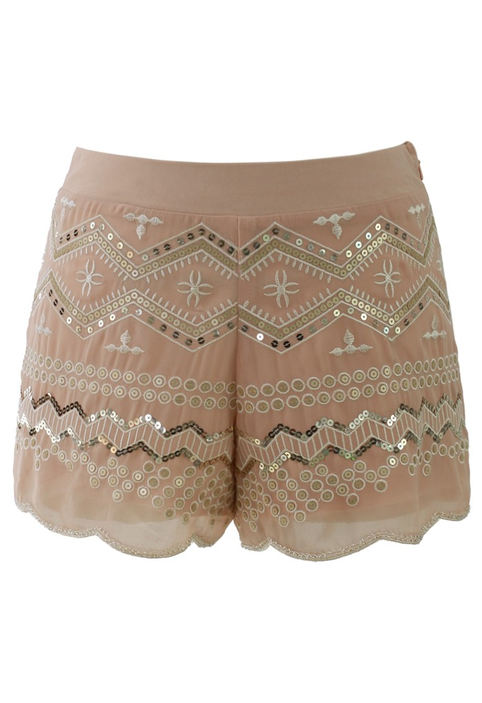 Sequins Embellished Shorts in Peach - Retro, Indie and Unique Fashion