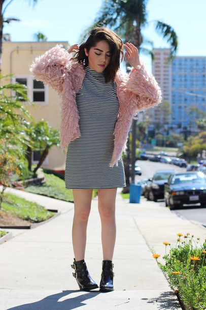 platforms for breakfast blogger fuzzy coat baby pink striped dress dress jacket shoes