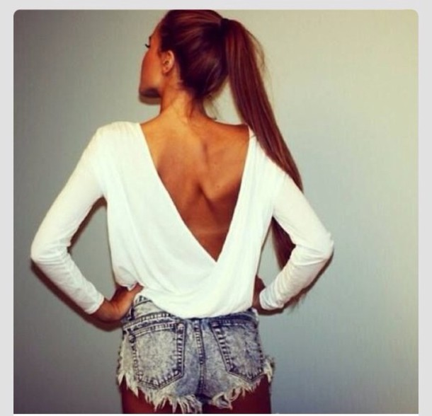 Long sleeve open back blouse long blouse with pants for Long sleeve open shirt