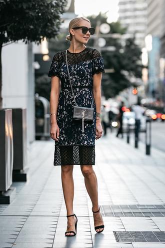 fashionjackson blogger dress jacket shoes bag sunglasses jewels fall outfits midi dress ysl bag sandals high heel sandals