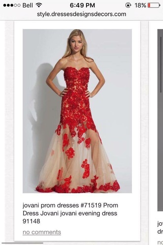 dress red jovani prom dress
