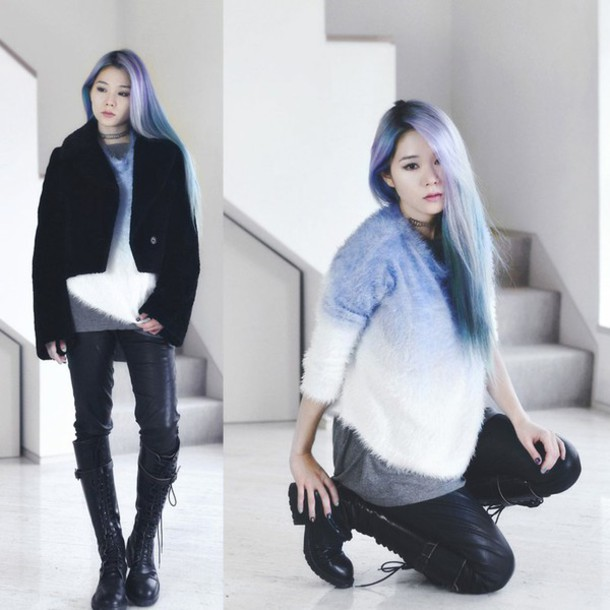 kawaiilabo blogger sweater fuzzy sweater pastel hair ombre leather pants ombre hair