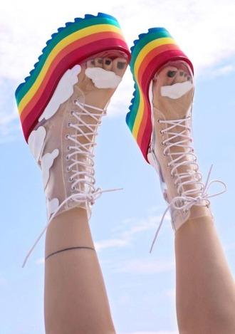 shoes platform shoes foam sandals rainbow platform sandals