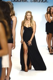 dress,lauren conrad,slit,maxi dress,strapless