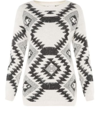 Cameo Rose Cream Fluffy Diamond Aztec Jumper