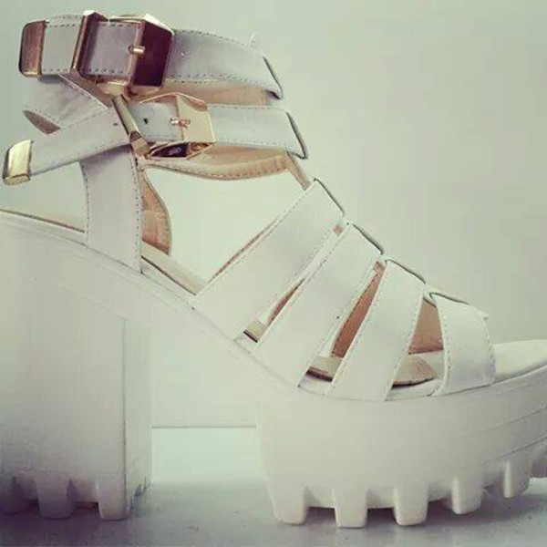 shoes platform shoes white strappy sandals buckle sandals gold white sandals white platform heel sandals platform shoes