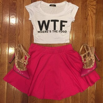 t-shirt divergence clothing wtf skater skirt hig waisted skirt wtf wheres the food shirt wtf where's the food crop top says: wtf where's the food pink skater skirt valentino valentino rock stud crop tops summer top summer dress