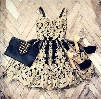 dress short black dress gold prom dress homecoming dress asos