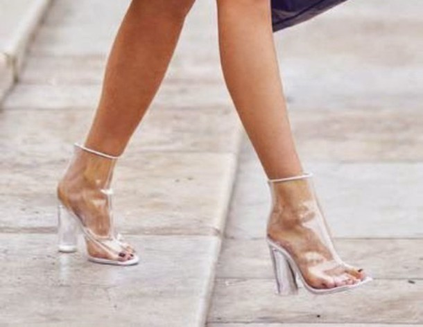 Shoes: see through, platform shoes, high heels, cute high heels, plastic, plastic shoes - Wheretoget