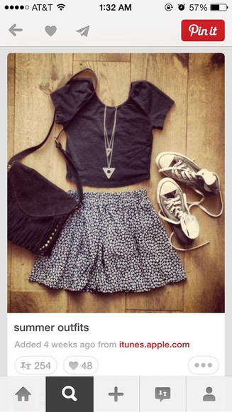 triangle necklace skirt floral skirt black crop top