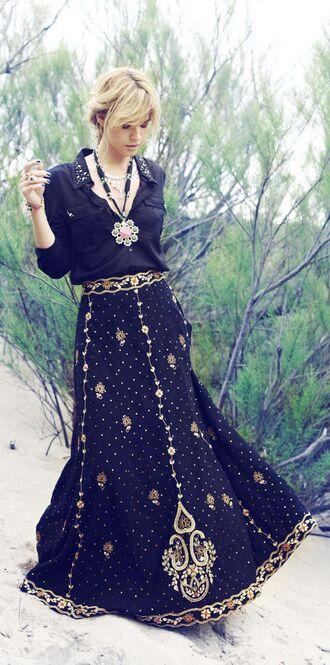 skirt embellished skirt oriental print maxi skirt