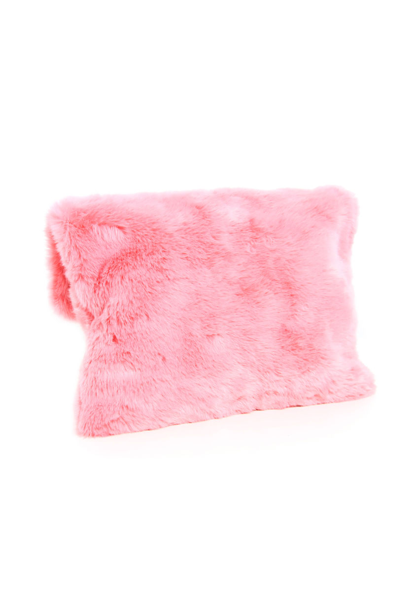 Pink fur fold clutch