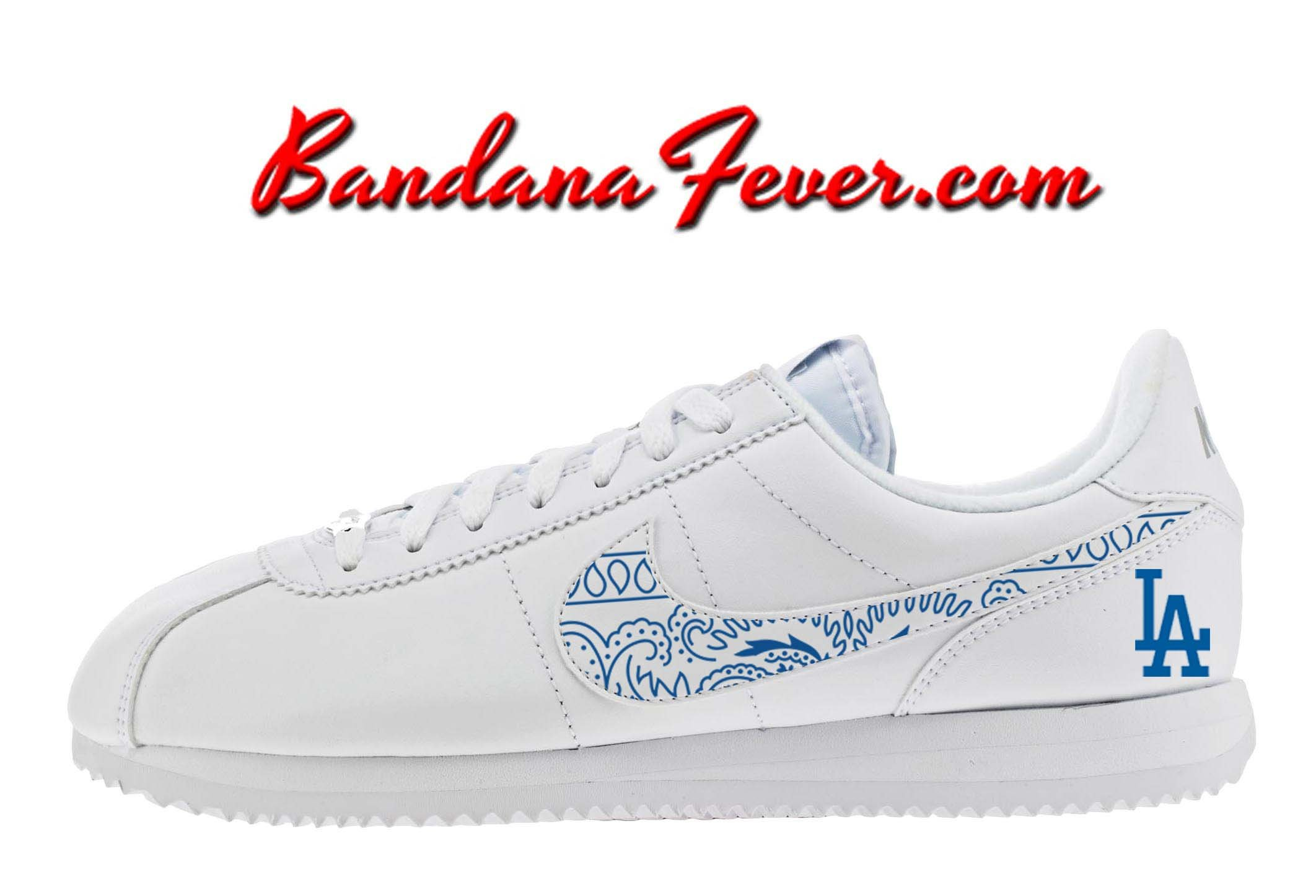 online retailer 07176 0de38 Custom Dodgers Nike Cortez Leather White Grey,  Dodgers,  LADodgers,   dodgerblue, by Bandana Fever