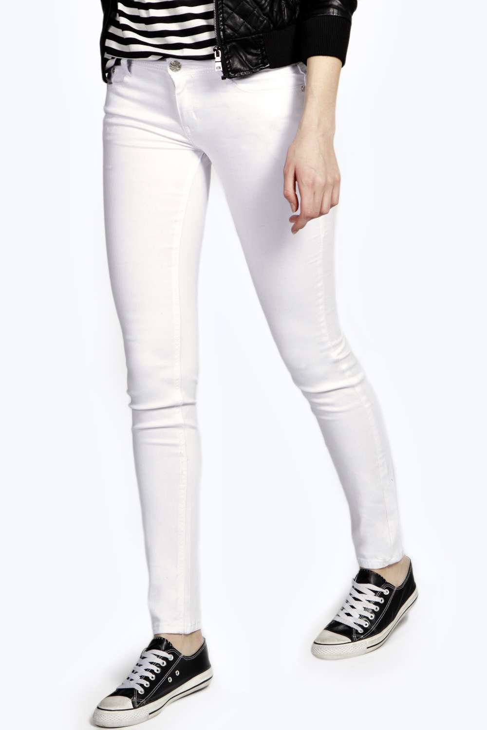 Low Rise Super Skinny White Jeans