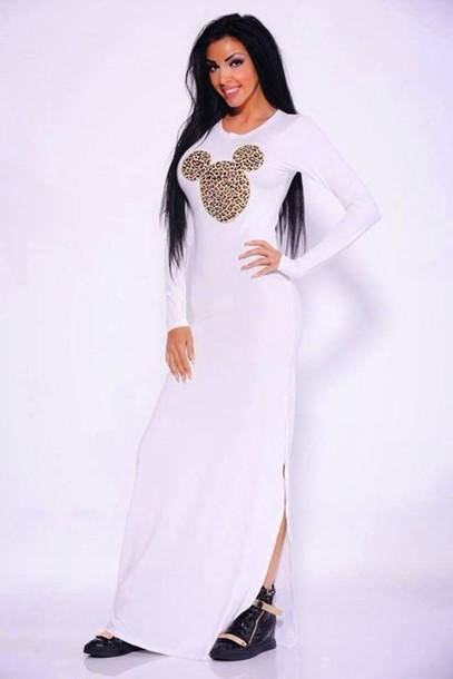 c8268de339 dress white dress white disney disney disneyland maxi dress maxi leopard  print leopard print mickey mouse