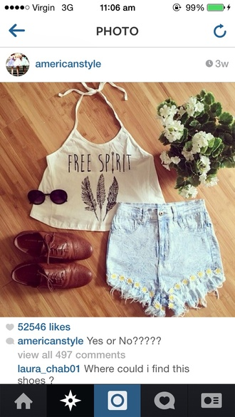 white tank top top sunglasses feathers daisy brogues high waisted shorts