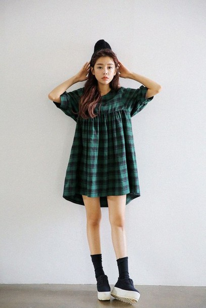 Dress Checkerd Green Dark Green Black Short Oversized Kstyle Urban Casual Grunge Cute