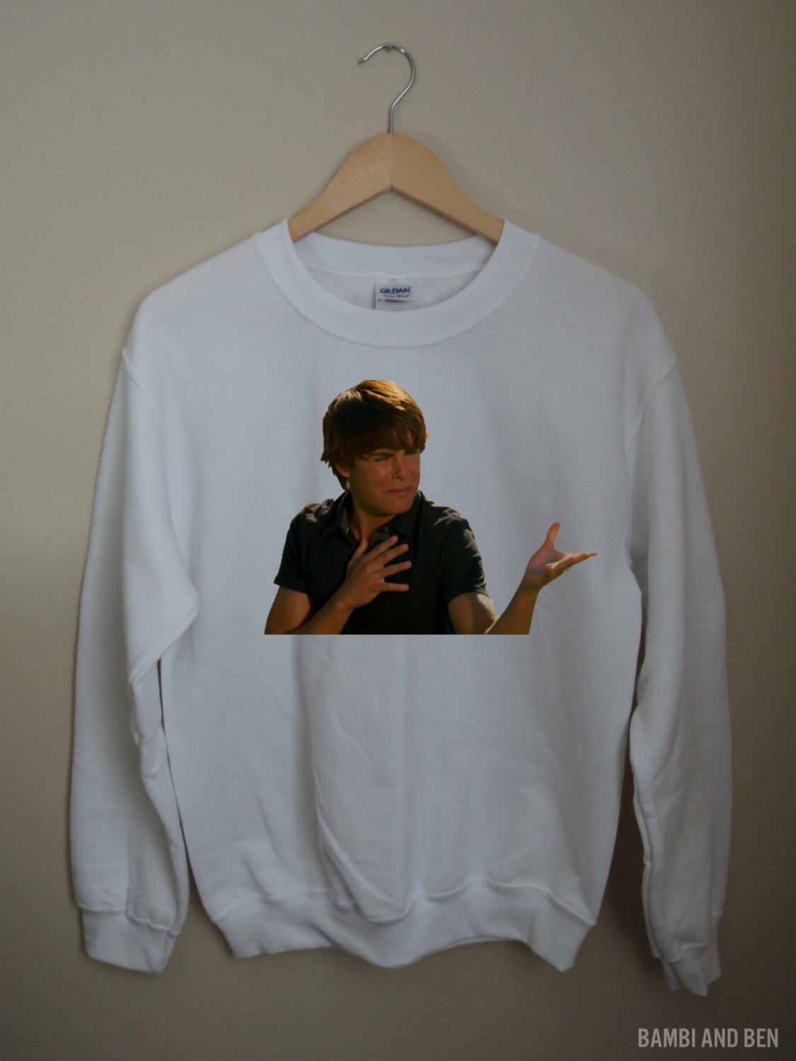 Troy bolton zac efron white graphic sweatshirt crewneck highschool musical hsm
