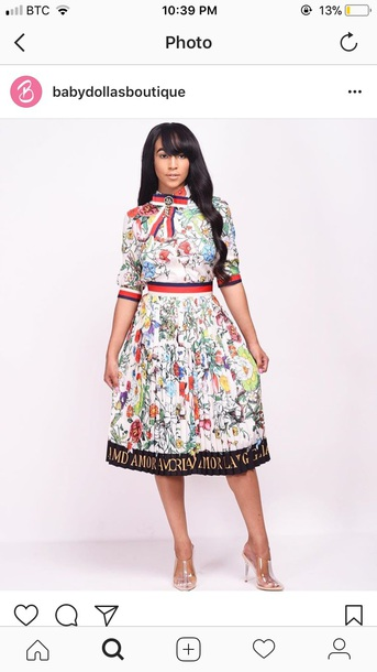 blouse dress white dress flowers skirt two piece dress set