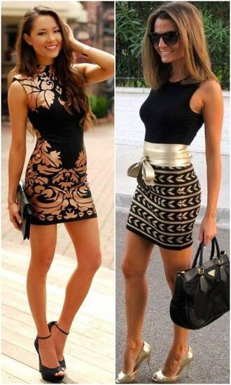 dress black metallic left one