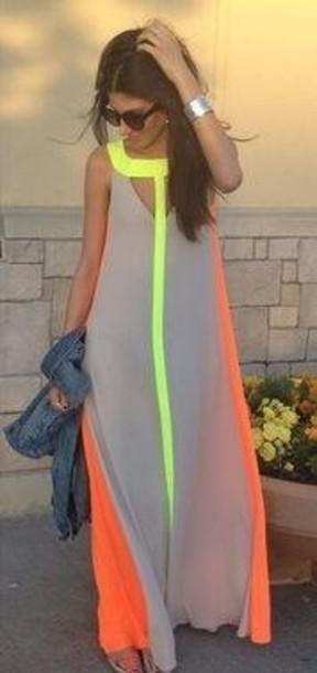 631437acc1b dress neon yellow orange and gray neon dress neutral orange dress yellow  nude dress maxi dress