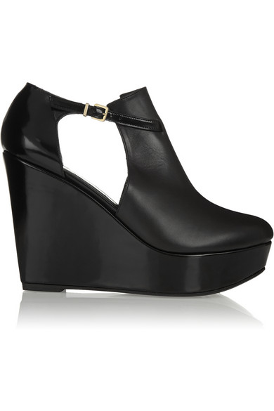 Robert Clergerie | Filona cutout leather wedge boots | NET-A-PORTER.COM