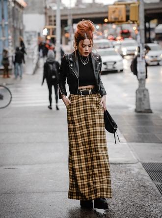 skirt plaid skirt boots black boots belt black belt black top jacket leather jacket necklace bag