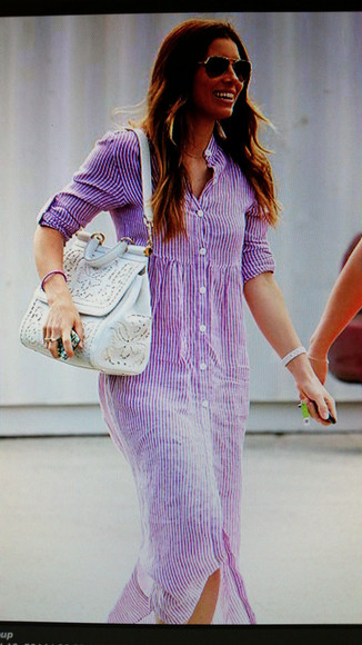 jessica biel long shirt dress lavender stripe dress