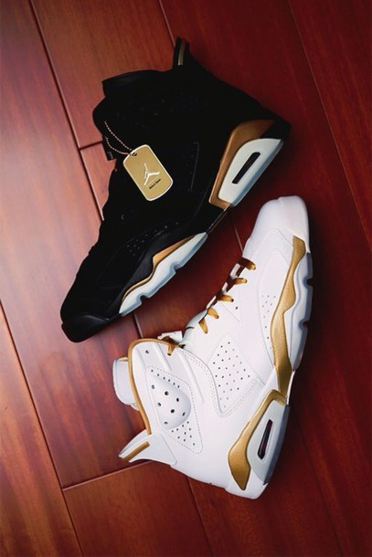 shoes jordans jordans gold black white tumblr shoes sneakers fly dope need ! air jordan jordan's jordan air jordan  6-7 gold  metal pack black and white high top sneakers white sneakers black sneakers