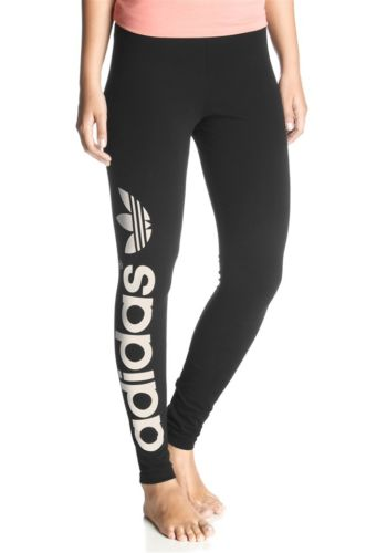New Womens Adidas Originals Black Big Trefoil Leggings Pants Sport Running Yoga | eBay
