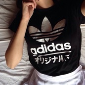 top,adidas,aesthetic,japanese,black,white,shirt,adidias,japanese shirts,t-shirt,addidas shirt,grunge,cute,girl,fashion,tumblr
