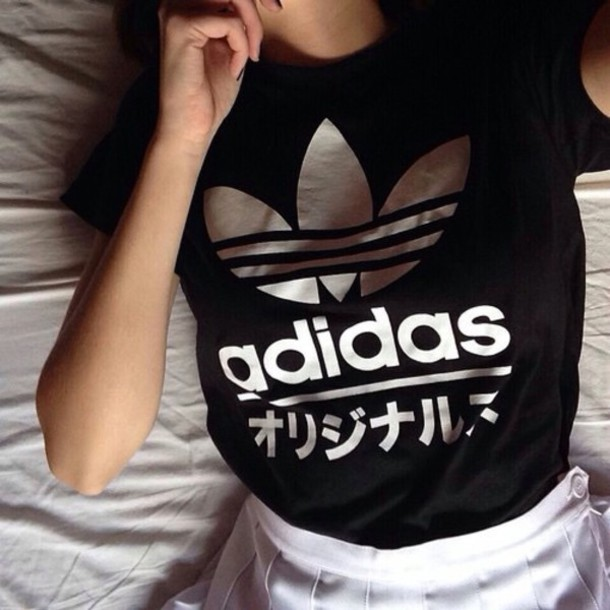 top adidas aesthetic japanese black white shirt adidias japanese shirts t-shirt addidas shirt grunge cute girl fashion tumblr