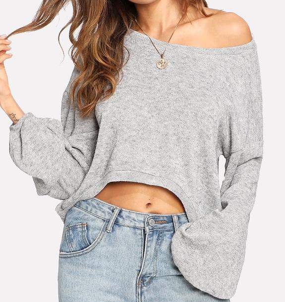 sweater girly grey grey sweater sweatshirt jumper off the shoulder off the shoulder sweater oversized sweater