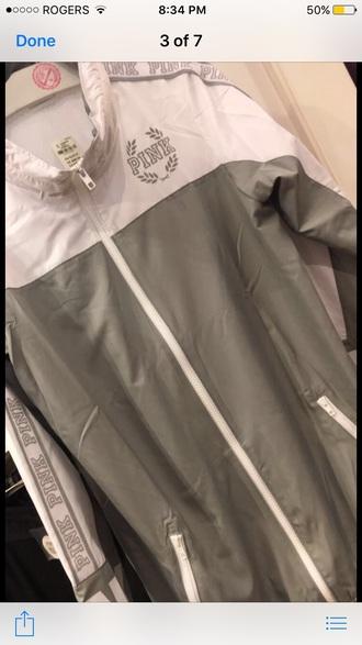 top jacket light grey grey white windbreaker pink by victorias secret