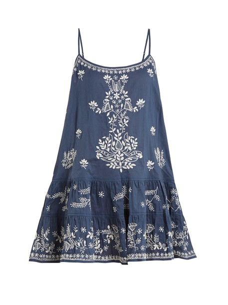 Juliet Dunn sleeveless embroidered cotton blue top