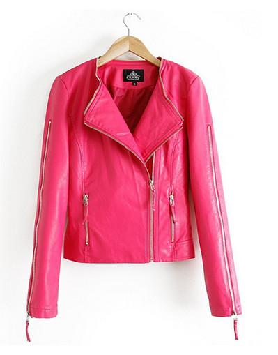 Leather stylish jacket autumn women jacket slim leather coat zipper