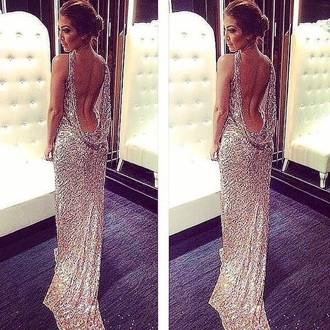 droopy back dress nude dress nude prom dress nude sparkly dress open back dresses open back prom dress gold sequins gold dress