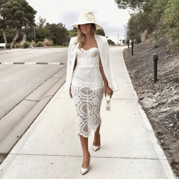 friend in fashion blogger fedora white dress lace dress white bustier dress blazer