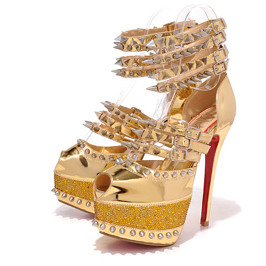 Christian Louboutin Isolde 160mm Gold Spiked 20th Anniversary Patent leather Red Bottom Shoes [TBD10246] - $226.00 : Cheap Replica Bags Sale, Buy Designer Knockoffs Outlet Online