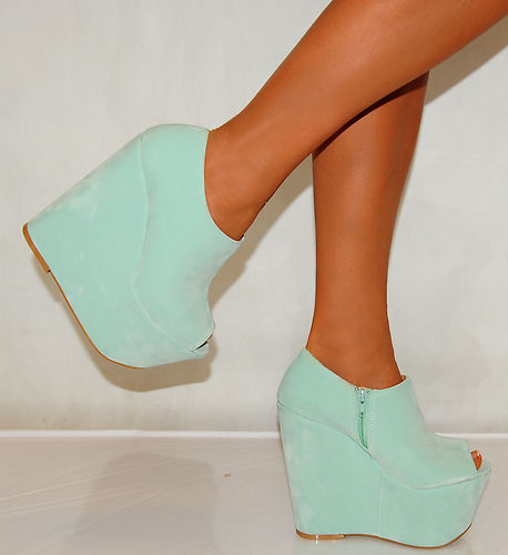 Ladies Womens Suede Mint Green Platforms Ankle Boots Peep Toes Wedges High Heels | eBay