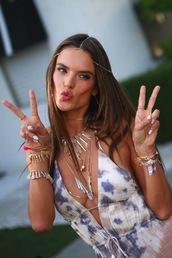 jewels,bracelets,necklace,gold,stones,coachella,pretty,sun,glass,alessandra ambrosio,stones bracelet,crystal quartz,boho jewelry,dress