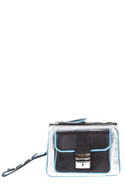 Frankie Morello leather clutch clutch leather silver bag