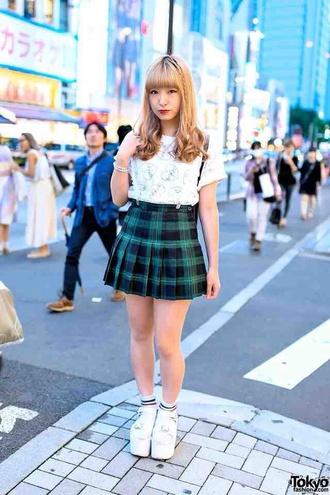 t-shirt shirt kawaii kawaii grunge kawaii girl white pastel platform sneakers platform shoes skirt