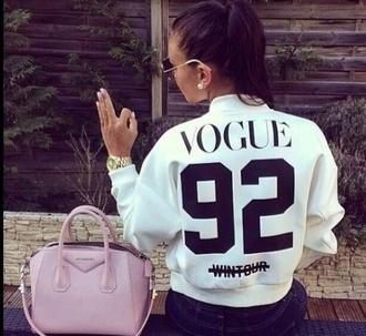 jacket black and white bomber jacket white vogue givenchy black number bag