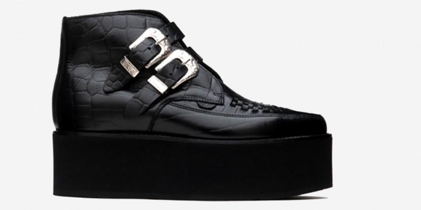 Bowie triple sole black croc leather