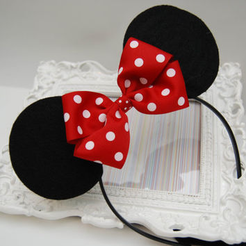 Handmade Minnie Mouse Inspired Felt Mouse Ears by bowsgalorenmore on Wanelo