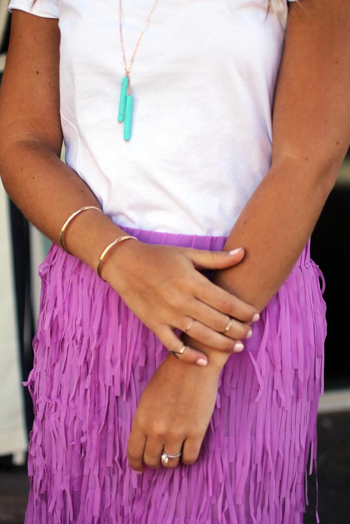 Lilac Fringe Skirt | Stripe Clothing Co.